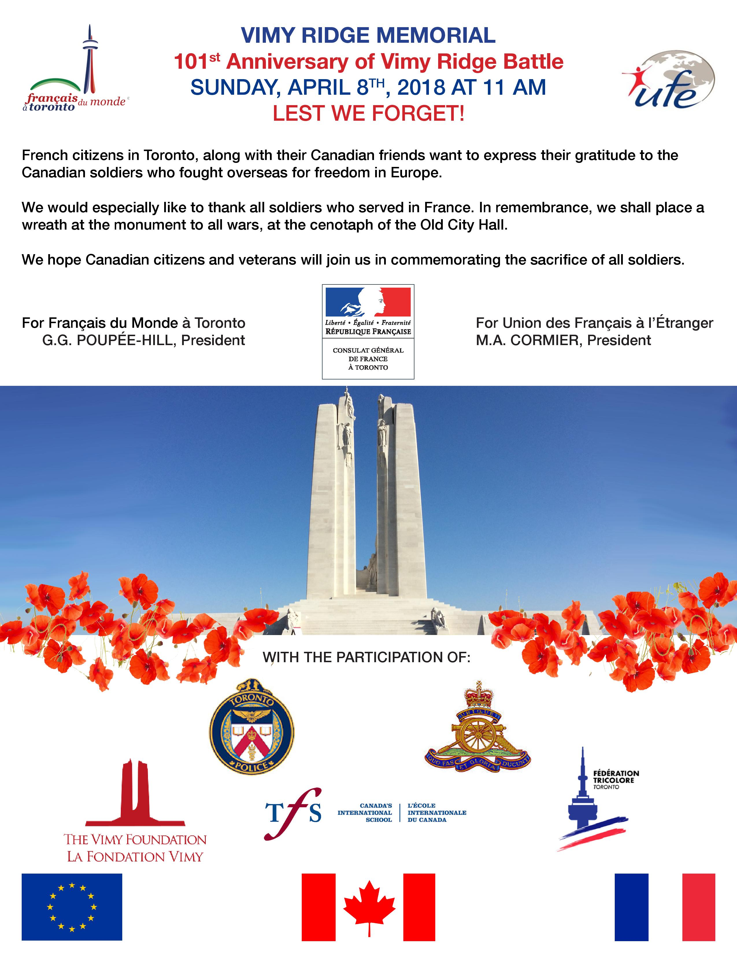8 April 2018 - Toronto Old City Hall Cenotaph - Wreath-Laying Ceremony - Vimy Day 2018